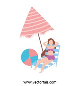 summer people activities, woman resting on chair with umbrella and ball, isolated design