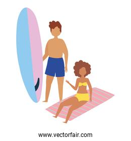 summer people activities, man with surfboard and girl in towel, seashore relaxing and performing leisure outdoor