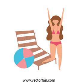 people summer related design, young woman with deck chair and ball isolated icon