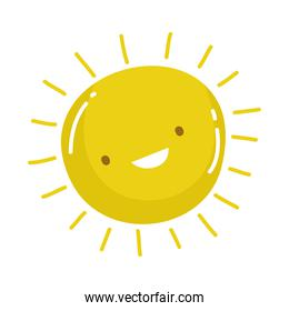 sun summer weather cartoon isolated design icon