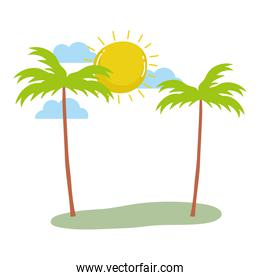 tropical palm trees exotic sun clouds summer isolated design