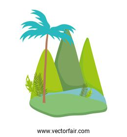 landscape tropical tree palms mountains cartoon isolated design icon