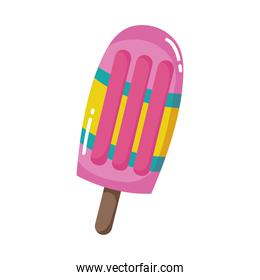 ice cream in stick cartoon isolated design icon