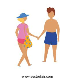 people summer related design, couple with swimsuits holding hands, isolated icon