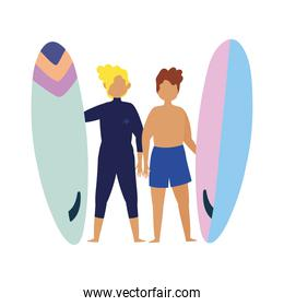 summer people activities, young men holding surfboard, seashore relaxing and performing leisure outdoor