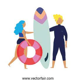 summer people activities, man with surfboard and girl with float in the beach, seashore relaxing and performing leisure outdoor