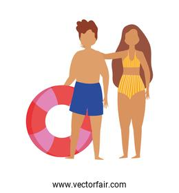 people summer related design, man and woman with swimsuit and float isolated icon