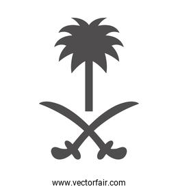 saudi arabia national day, palm tree and swords national symbol silhouette style icon