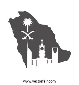 saudi arabia national day, flag map and city silhouette style icon