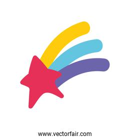 shooting star rainbow magic isolated design icon