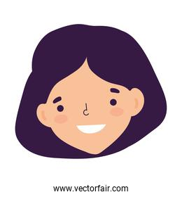 woman face character cartoon isolated design icon white background