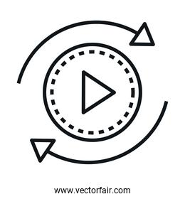 360 degree panoramic video button linear style icon design