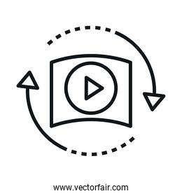 360 degree virtual video player reality linear style icon design
