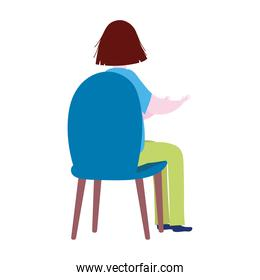 back view woman sitting on chair cartoon isolated icon design