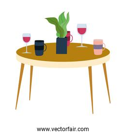 table with glass cups coffee cups and plant isolated icon design