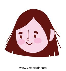 young woman face character cartoon isolated icon design