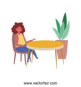 woman sitting at table, restaurant keep distance, isolated design