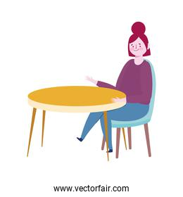 woman sitting on the table alone cartoon isolated icon