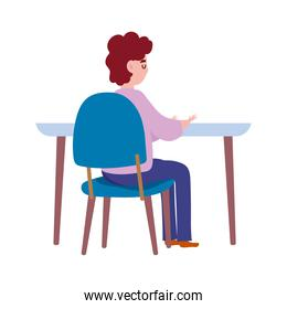 back view man sitting on table isolated design icon