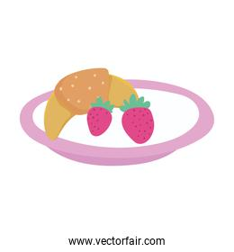 plate with fruits and bread food isolated icon design