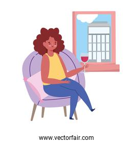 restaurant social distancing, woman with glass wine looking at window keep a safe distance, prevention covid 19 coronavirus