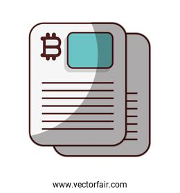 bitcoin cryptocurrency contract icon isolated design shadow