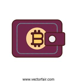 wallet bitcoin cryptocurrency icon isolated design shadow