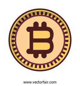 gold bitcoin money icon isolated design shadow