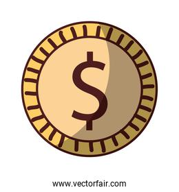 dollar coin mmoney cash icon isolated design shadow