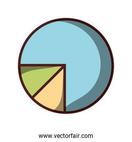 business chart pie finance icon isolated design shadow