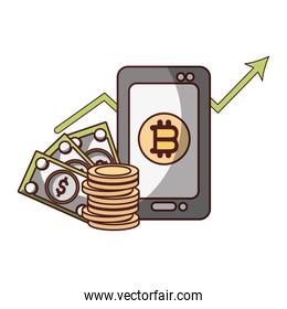 bitcoin smartphone banknote dollar cryptocurrency transaction digital money