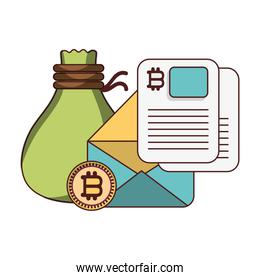 bitcoin cryptocurrency with  bag money and email