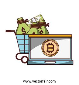bitcoin laptop shopping cart with money bags cryptocurrency digital