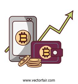 bitcoin smartphone wallet arrow up cryptocurrency transaction digital money