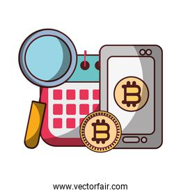 bitcoin smartphone calendar analysis business cryptocurrency digital money