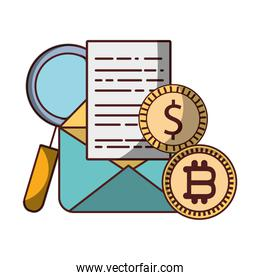 bitcoin coins dollar email data analysis cryptocurrency digital money