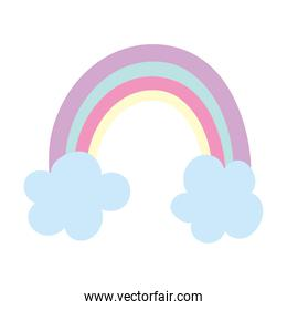rainbow clouds fantansy cartoon isolated icon design