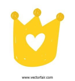 gold crown royalty cartoon isolated icon design