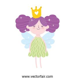cute little fairy with crown and wings cartoon isolated icon design