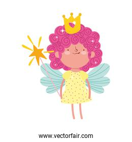 cute little fairy with magic wand and crown cartoon isolated icon design