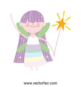 cute little winged fairy with magic wand cartoon isolated icon design