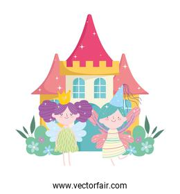 isolated fairies princess with wings crown castle tale cartoon