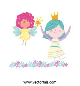 little fairy princess with magic wand and girl with crown flowers tale cartoon