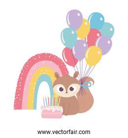 isolated cute squirrel with cake balloons rainbow celebration decoration cartoon