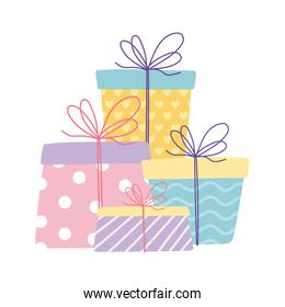 happy birthday wrapped gift boxes celebration cartoon isolated design icon