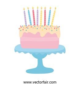 happy birthday sweet cake with candles cartoon isolated design icon