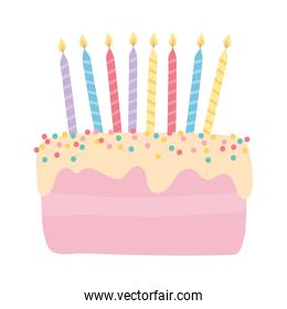happy birthday sweet cake with burning candles celebration cartoon isolated design icon