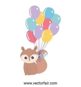 happy birthday, cute squirrel with colors balloons in tail celebration decoration cartoon
