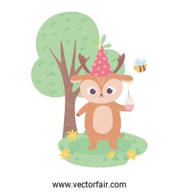 happy birthday, cute little deer with cupcake and bee celebration decoration cartoon