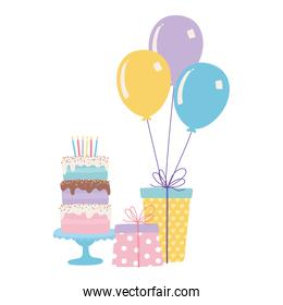 isolated sweet cake gifts party hat and balloons celebration decoration cartoon